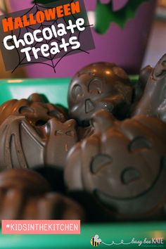 Kids in the Kitchen - Halloween Chocolate Treats {Allergy-Friendly} | Using molds to make fun chocolate treats for Halloween! Grab your favorite allergy-friendly chocolates (Enjoy Life mini chips,) heat & pour into the molds! These chocolate chips are delicious and are dairy, nut and soy free. Easy peasy and super tasty!