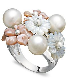 Pearl Ring, Sterling Silver Mother of Pearl and Cultured Freshwater Pearl Flower Ring - Pearls - Jewelry & Watches - Macy's