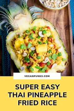 Authentic Thai Pineapple Fried Rice in 20 minutes  Recipes to try This vegan Pineapple fried rice is delicious, fruity, healthy, vibrant and ready in under 20 minutes making it perfect for midweek dinners! Don't forget to save this pin to return to later. #healthydinner #midweekdinner #veganthaifood Thai Pineapple Fried Rice, Sauce For Rice, Cooking Jasmine Rice, Kimchi Fried Rice, Vegan Fish, Easy Vegan Dinner, Vegan Curry, Vegan Comfort Food, Best Vegan Recipes