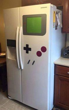 Game Boy Refrigerator Magnet Transforms Any Fridge Into A Nintendo Shrine - geek culture - Game Boy, All Video Games, Video Game Rooms, Video Game Decor, Video Game Crafts, Deco Gamer, Geek Home Decor, Giant Games, Game Room Design