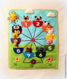 Ferris wheel quiet book page for inspiration. Make animals finger puppets. Diy Quiet Books, Baby Quiet Book, Felt Quiet Books, Baby Crafts, Felt Crafts, Crafts For Kids, Book Projects, Sewing Projects, Silent Book