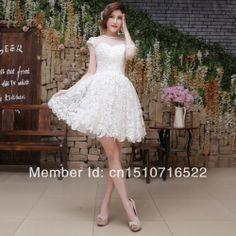 CD9690 2014 na altura do joelho vestido de cocktail do regresso a casa elegante da festa sem mangas Lace Custom Made US $38.00 - 72.00