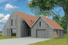 Schuurwoning. Timber Architecture, Residential Architecture, Architecture Details, Modern Barn, Modern Farmhouse, Building Design, Building A House, House Cladding, Self Build Houses