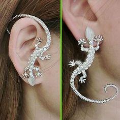 Silver Glittering Lizard Ear Cuff (Single) | LilyFair Jewelry, $11.99!