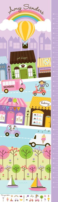 My Town. Can You Find Me? Candy Personalized Growth Chart by Petite Lemon Prints .... Love this for Lily's room.