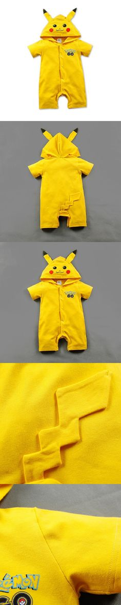 Pokemon Baby Rompers Cartoon Character Pokemon Hooded Romper For Baby Boy And Girl Summer Clothes Pokemon Clothing $12.4