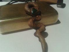 Walnut & malachite snake pendant.
