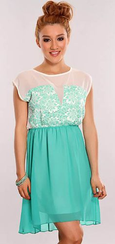 Jade Green and Ivory Summer High Low Floral Frock Crepe Dress $24.99