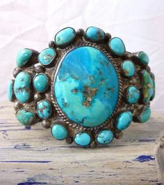 Turquoise Jewelry Native American 79 g PRIMITIVE Vintage Navajo Sterling Silver Cuff Bracelet w Multi-Mine Turquoise Cabochons and Great Silver Work! Fabulous OLD Piece! Navajo Jewelry, Southwest Jewelry, Western Jewelry, Hippie Jewelry, Vintage Turquoise, Turquoise Jewelry, Silver Jewelry, Jewlery, Turquoise Cuff
