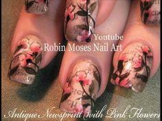 Vintage Newspaper Nails + Pink Antique Flowers Nail Art Design tutorial
