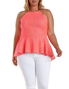 #Plus #Size #Lace #High-#Low #Peplum #Top. $25.99  Bonded neon lace covers a #nude #scuba #knit lining for a vibrant palette, making a #racer #front statement with #spaghetti straps on top. #Peplum waist flares below, then takes it high-low in back for a dramatic finish!
