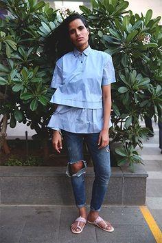 Preeti Dhata makes a case for #blue #streetstyle #ootd