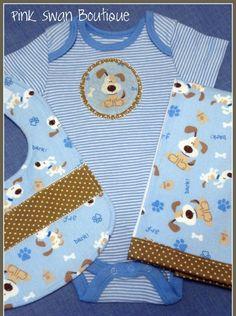 Puppy Dog Blue  BibOnesieBurp Cloth Baby Gift by PinkSwanBoutique, $22.00