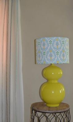 Pale Blue yellow green elegant print linen lampshade