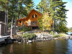 7. This amazing log home is right next to the Boundary Waters Canoe Area and offers plenty of solitude and gorgeous waterfront views.