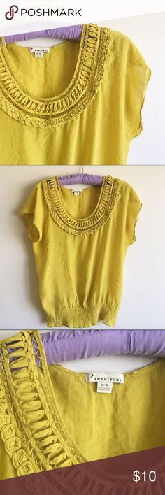 "Forever 21 Mustard Yellow Top Adorable Mustard Yellow Forever 21 Top. Size Medium. Really unique, cute detailing around the collar. Elastic at the bottom at the top. 60% Rayon. 40% Polyester. Machine wash cold. W: 15.5"" L: 23"" Forever 21 Tops Blouses"