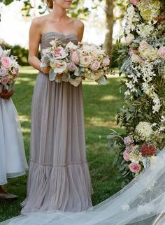 Gray Chiffon Strapless Bridesmaids Dress | photography by http://carrie-patterson.squarespace.com/