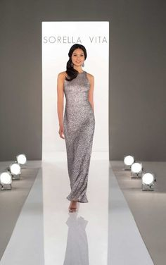 78e2a4a2fc 8994 Sequin Bridesmaid Dress with Halter Neckline - Available at Blush  Bridal  amp  Prom -