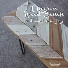 Chevron Bench with Hairpin Legs