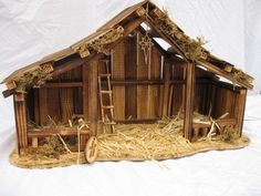 How To Build An Outdoor Nativity Stable With Pictures by Woodtopia Nativity Stable Large Willow Tree Nativity Christmas Crib Ideas, Christmas Manger, Christmas Nativity Scene, Christmas Wood, Christmas Deco, Outdoor Christmas, Christmas Projects, Xmas, Christmas Friends