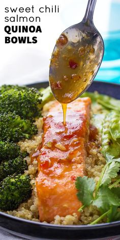 A delicious and healthy dinner recipe: sweet chili salmon is served with roasted broccoli and snap peas on a quinoa bowl! Makes a great lunch, as well.