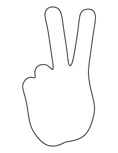 Peace hand pattern. Use the printable outline for crafts, creating stencils…