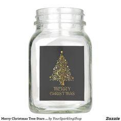Merry Christmas Tree Stars Black Gold Shiny Chic Mason Jar