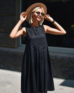 Cómo combinar un vestido negro - Outfit vestido negro - Simple Dresses, Cute Dresses, Casual Dresses, Fashion Dresses, Cute Outfits, Summer Dresses, Linen Dresses, Outfit Vestido Negro, Look Fashion