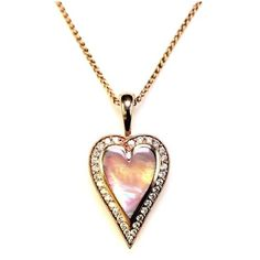 Pre-owned Kabana 14K Rose Gold with 0.39ct Diamonds & Pink Mother of... ($2,495) ❤ liked on Polyvore featuring jewelry, necklaces, diamond jewelry, 14k heart necklace, 14 karat gold necklace, pink gold necklace and pink heart necklace