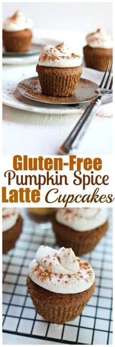Gluten-free Pumpkin Spice Latte Cupcakes. Vegan, gluten-free, oil-free and grain-free. These are to die for and topped with coconut whipped icing. Just 8 ingredients. | http://TheVegan8.com | #vegan #glutenfree #grainfree #pumpkin #spice #latte #cupcakes #muffins #psl #oilfree