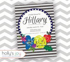 Fun Glitter Stripe Bridal Shower Invitation - hollysjoy on Etsy