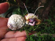 Cute & Tiny Mermaid Mersnail Fairy in Shell by by scarletsbones, $48.00