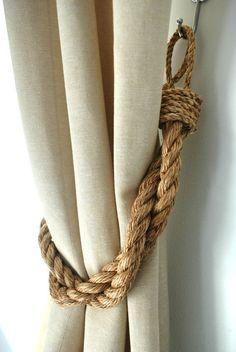 Rustic Manila Rope Curtain Tiebacks - Shabby Chic Vintage Nautical Chunky Thick Industrial