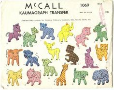 Vintage 1940s Baby Animals Kaumagraph Transfer Patterns Applique Embroidery McCalls Pattern 1069 Cut