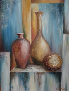 Bódegones Acrilic Paintings, Art Deco Paintings, Simple Acrylic Paintings, Oil Painting Abstract, Acrylic Painting Canvas, Fabric Painting, Watercolor Art, Canvas Art, Pottery Painting