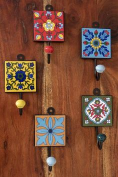 3 Brighten up your home with the bohemian flair of this charming x square ceramic tile hook. The coating on the metal hook protects your clothing from snags, and installation takes only a single screw or nail! x tile with a long hook Ceramic Tile Crafts, Ceramic Knobs, Ceramic Painting, Ceramic Art, Home Crafts, Arts And Crafts, Diy Crafts, Tile Projects, Blue Pottery
