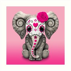 This adorable design by artist Jeff Bartels features a small baby elephant decorated with Day of the Dead Sugar Skull patterns. A single rose appears on the elephants head with a five point star sitting in the middle of it's forehead. The tiny animal is decorated with swirls and dot patterns in the tradition of the Day of the Dead Sugar Skulls. This unique elephant design is an adorable way to celebrate the Day of the Dead • Also buy this artwork on wall prints, apparel, stickers, and more.