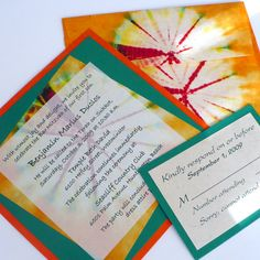 The Petal Press: Orange and green tie dye Bar Mitzvah invitation with matching envelope.  Can be customized to fit your color scheme.