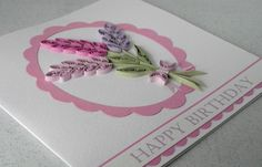 Quilled birthday card paper quilling lavender by PaperDaisyCards