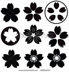 Cherry Blossom flower silhouette set vector with many style include drawing style and shade - stock vector Japanese Flowers, Japanese Art, Design Tattoo, Tattoo Designs, Flower Crafts, Flower Art, Cherry Blossom Drawing, Cherry Blossom Vector, Flower Graphic Design