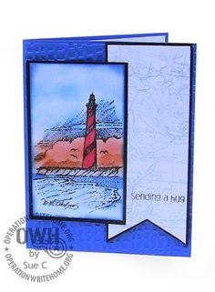 "SU! Lighthouse image ""Coast to Coast"" , Map image ""World Map"";  Sentiment by Inky Antics ""Simple Sentiments"";  Mesh embossing folder by  Tim Holtz"