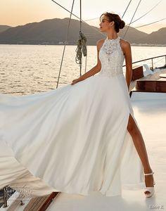 eddy k 2018 bridal sleeveless illusion halter jewel sweetheart neckline heavily embellished bodice romantic soft a  line wedding dress cross strap back chapel train (6) mv -- Eddy K. Dreams 2019 Wedding Dresses