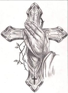 Cross Tattoo Drawings Praying Hands Tattoos Designs Ideas And Meaning Tattoos Fo. - Cross Tattoo Drawings Praying Hands Tattoos Designs Ideas And Meaning Tattoos For You - Jesus Tattoo, Prayer Hands Tattoo, Praying Hands Tattoo Design, Pray Tattoo, Praying Hands Drawing, Jesus On Cross Tattoo, Hands Praying, John Wick Tattoo, Body Art Tattoos