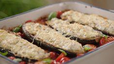 Ovenschotel met aubergines, ricotta, tomatensaus en kikkererwten