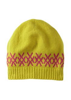 b5cd3e316d9 RUSHWORTH LOGO HAT IN MUSTARD AND PINK. LAMBSWOOL. KNITTED IN SCOTLAND