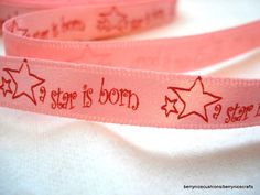 3 Metres Pink Baby Ribbon A star is born ribbon by berrynicecrafts, £1.00