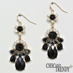 STUNNING BLACK CRYSTAL EARRINGS WEDDING FORMAL CHIC AND TRENDY JEWELRY SETS #Unbranded #Chandelier