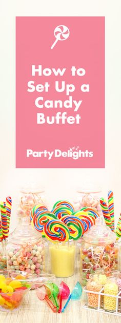 Find out how to set up a beautiful candy buffet table, including what size jars you need, how many sweets to buy and special touches to make your candy buffet display look beautiful. Don't forget your candy buffet signs and labels too! Our candy buffet ideas have all the inspiration you need!