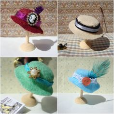 How to Make a Miniature Felt Hat for Dolls Tutorial here: http://miss-beatrix.blogspot.de/2012/05/how-to-make-miniature-hat.html
