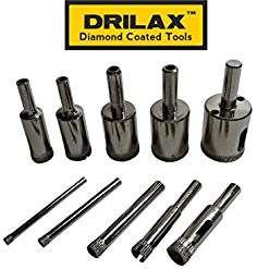 Drilax 10 Pcs Diamond Drill Bit Set 5 32 3 16 1 4 5 16 3 8 1 2 5 8 3 4 7 8 1 In Inch Tiles Glass Fish Tanks Glass Fish Drilling Glass